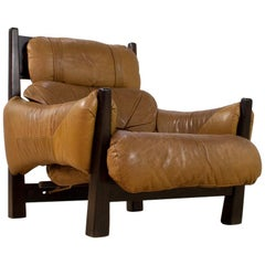 Brazilian Modern Brown Leather Lounge Chair in Manner of Percival Lafer, 1960s