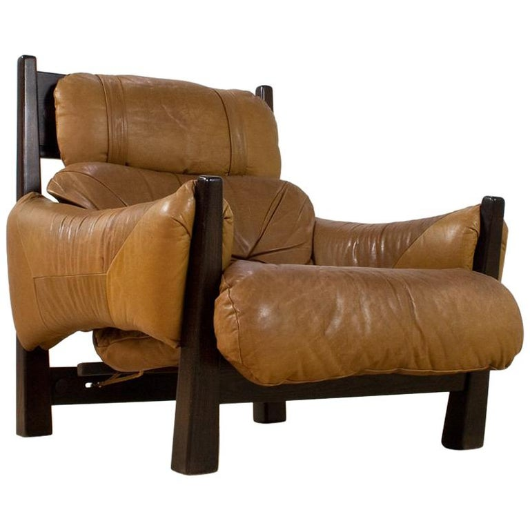 Brazilian Modern Brown Leather Lounge Chair in Manner of Percival Lafer, 1960s For Sale