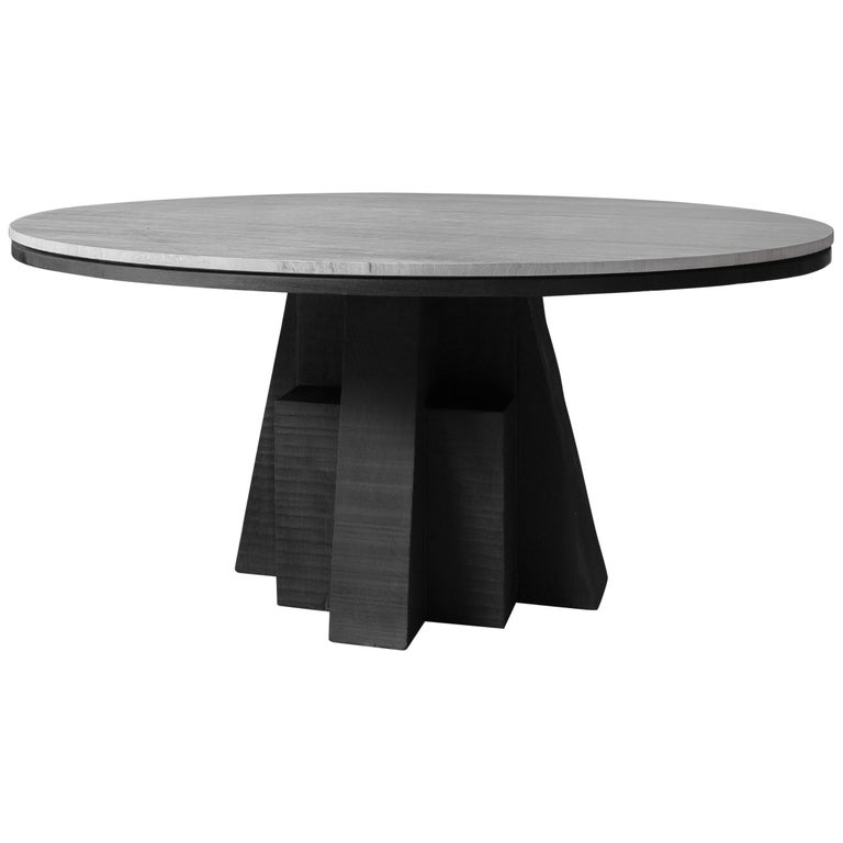 AD Round Table Iroko and Stone Signed Table, Arno Declercq For Sale