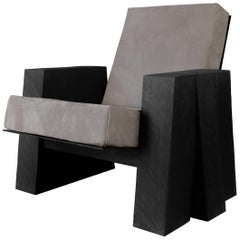 AD Lounge Chair, Sculpted Iroko Wood, Arno Declercq