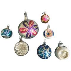 Seven Midcentury Mercury Glass Christmas Tree Ornaments