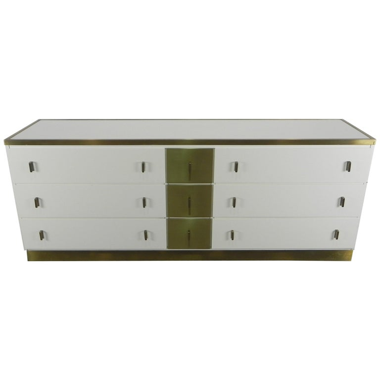Frigerio Sideboard Italian Brass and Wood, 1950 For Sale