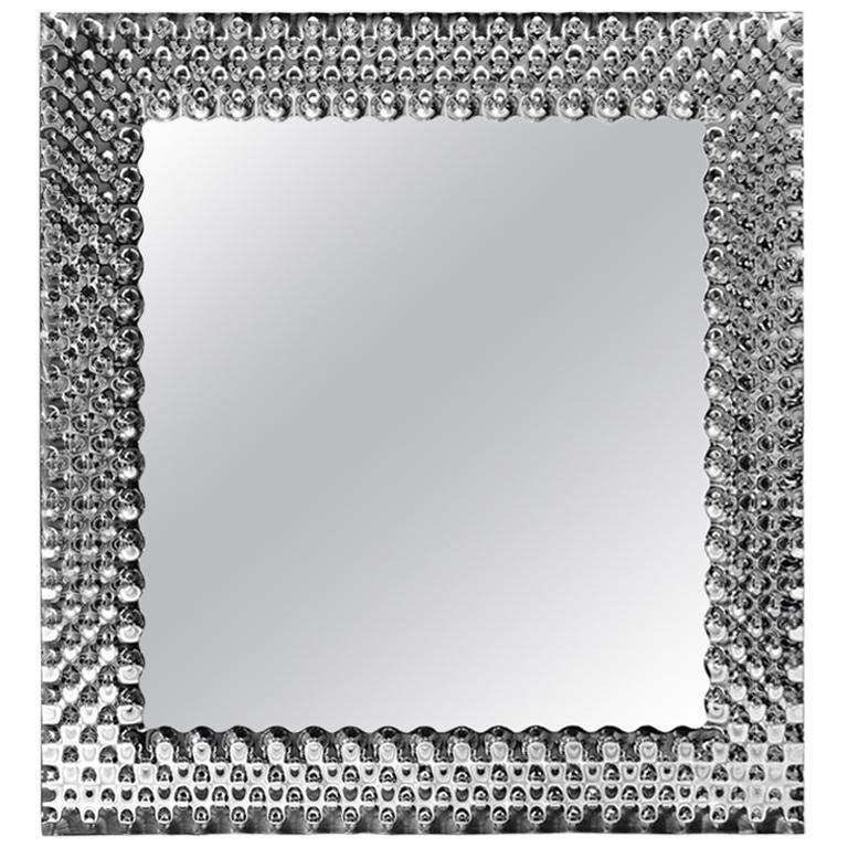 Glass Pearl Square Mirror For Sale