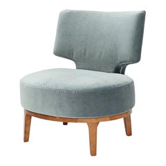 Retro 1970s Armchair with Soft Blue Fabric