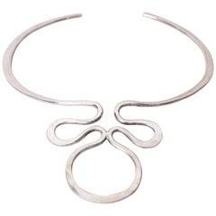 Scandinavian Modern Anna Greta Eker Choker Necklace in Silver Norway, 1960s