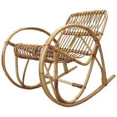 Italian Bamboo or Rattan Rocking Child's Chair, Midcentury Style, Bonacina Style