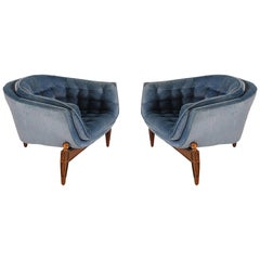 Pair of Mid-Century Modern 3-Legged Barrel Back Club Chairs or Lounge Chairs