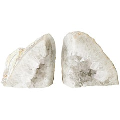 Pair of Large Silver Quartz Crystal Geode Bookends