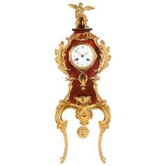 Louis XVI Style Tortoiseshell and Ormolu Rococo Mantel Clock