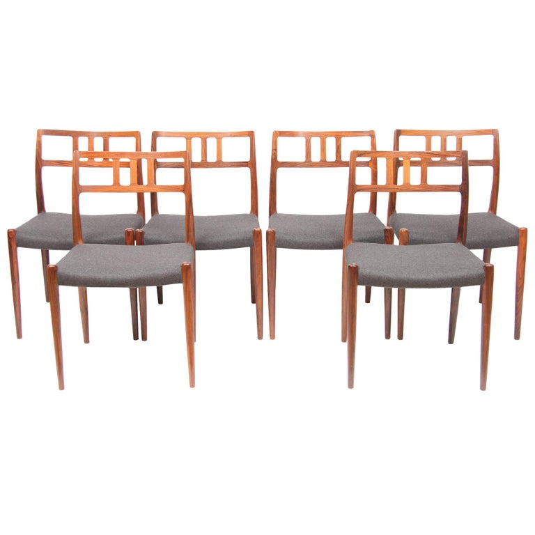 Danish Set of 6 Model 79 Chairs by Neils Otto Moller for J L Moller, circa 1960 For Sale