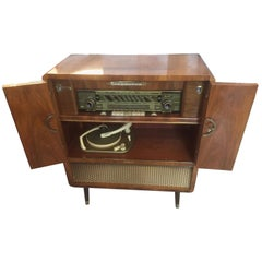20th Century Working French Walnut Signed Radio and Vinyl Cabinet, 1950s