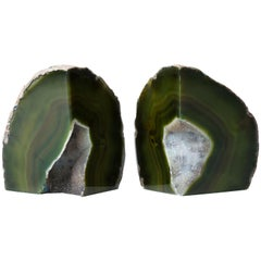 Pair of Organic Modern Agate Stone and Crystal Bookends in Moss Green