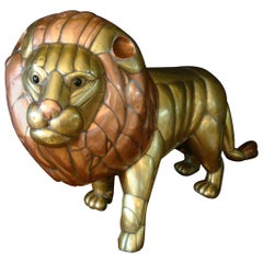 Sergio Bustamante Copper and Brass Lion Sculpture Mexico, 1970s