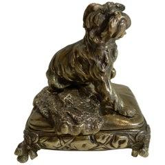 Antique English Brass or Bronze Dog Jewelry Box, circa 1880