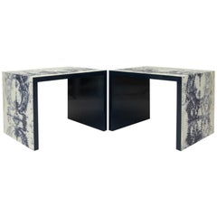 Modern Square Side Tables with Textured Print Finish