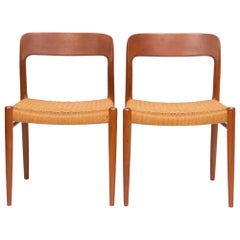 Pair of Midcentury Teak and Papercord Moller 75 Chairs
