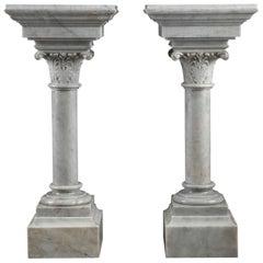 19th Century Napoleon III White Marble Column Pedestal Stands
