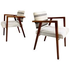 Franco Albini for Knoll Model 48 Chairs in Calfskin and Isabel Marant Silk Wool