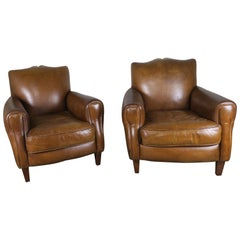 French Deco Style Mustache Shaped Leather Armchairs, circa 1930s, Pair