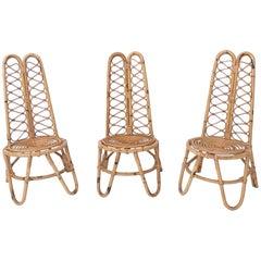 Set of Three Midcentury Wicker Chairs, Italy, 1950s