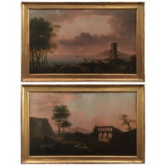 Mid-19th Century Italiano Pair of Oil on Canvas Landscape Paintings with Figures