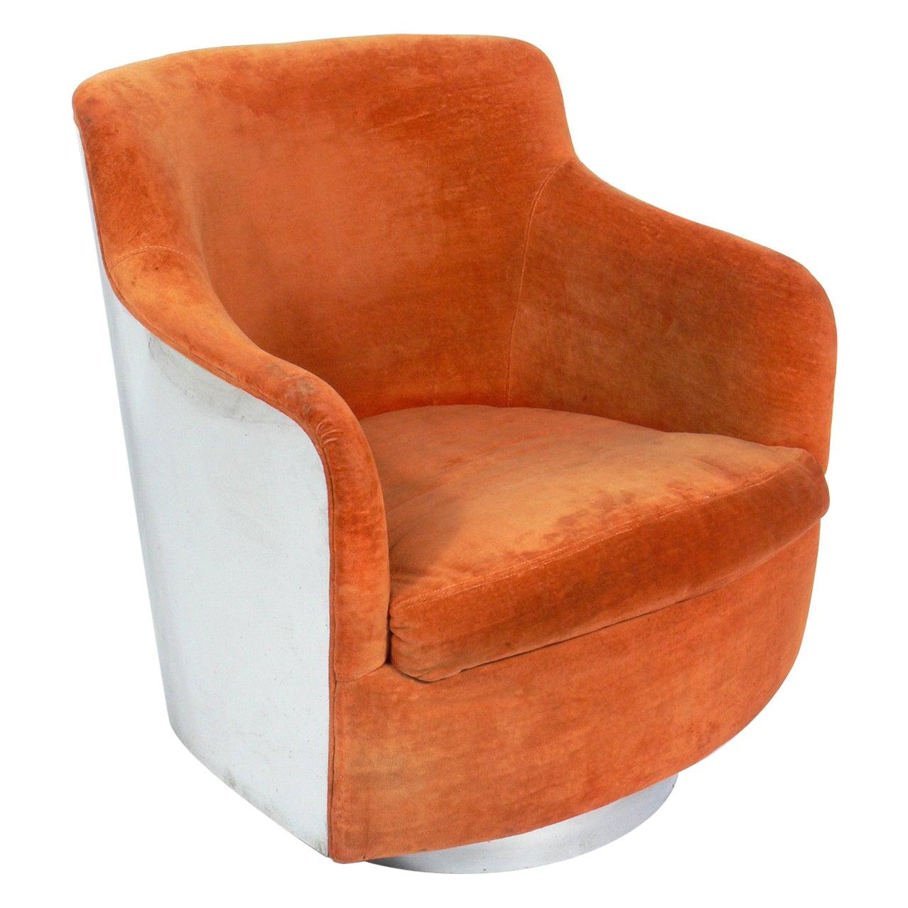 Milo Baughman Chrome Swivel Chair