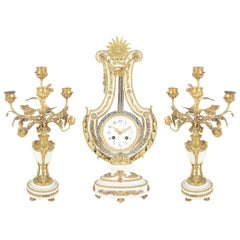French Louise XVI Style Clock Set, 19th Century