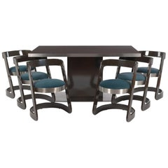 Mid-Century Modern Willy Rizzo for Mario Sabot Dining Table & Six, Chairs, 1970s