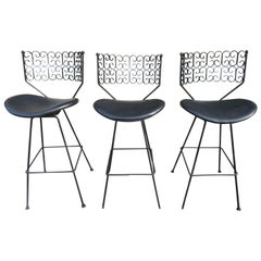 Handsome Set of 3 Iron Swivel Granada Arthur Umanoff Midcentury Barstools