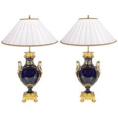 Pair of Sèvres Style Porcelain Lamps, circa 1900