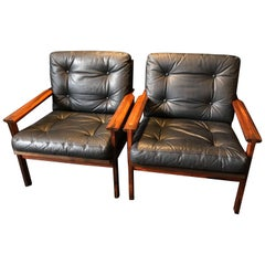 Pair of Midcentury Danish Armchairs by Illum Wikkelso, Rosewood and Leather