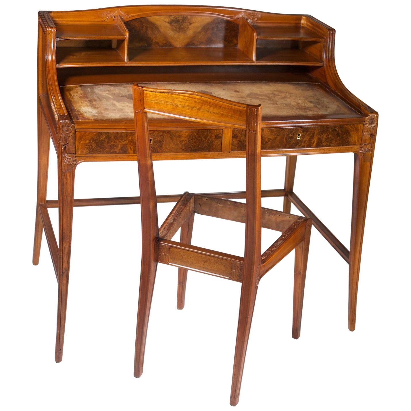 Leon Jallot Sculpted Walnut Desk and Chair