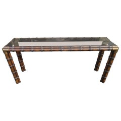 Handsome Chunky Faux Bamboo Campaign Style Console Table Mid-Century Modern