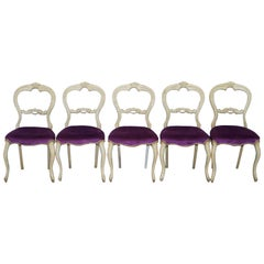 Set of Five 5 Victorian Medallion Back Original French Shabby Chic Dining Chairs