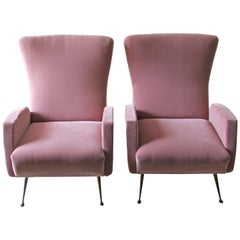 Pair of Italian 1950s Pink Velvet Armchairs with Brass Legs