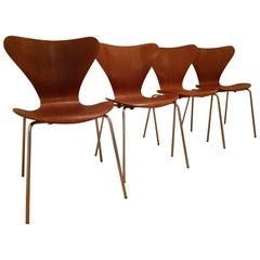 4 Vintage Series 7 Chairs 3107 in Teak by Arne Jacobsen for Fritz Hansen