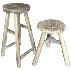 Two 19th Century Rustic Elm Stools
