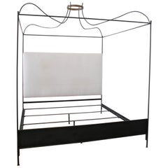 King Size Venetian Iron Canopy Bed with Upholstered Antique Linen Headboard
