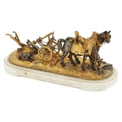 Late 19th Century Silvered & Gilt Bronze of Plough Horses and Plough