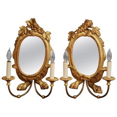 Pair of 19th Century Italian Carved Giltwood Two-Light Sconces with Grape Motif