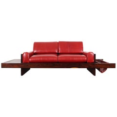 Brazilian Rosewood and Leather Sofa Attributed to Celina Moveis