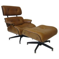 Selig Leather Lounge Chair or Ottoman in the style of Eames or Herman Miller