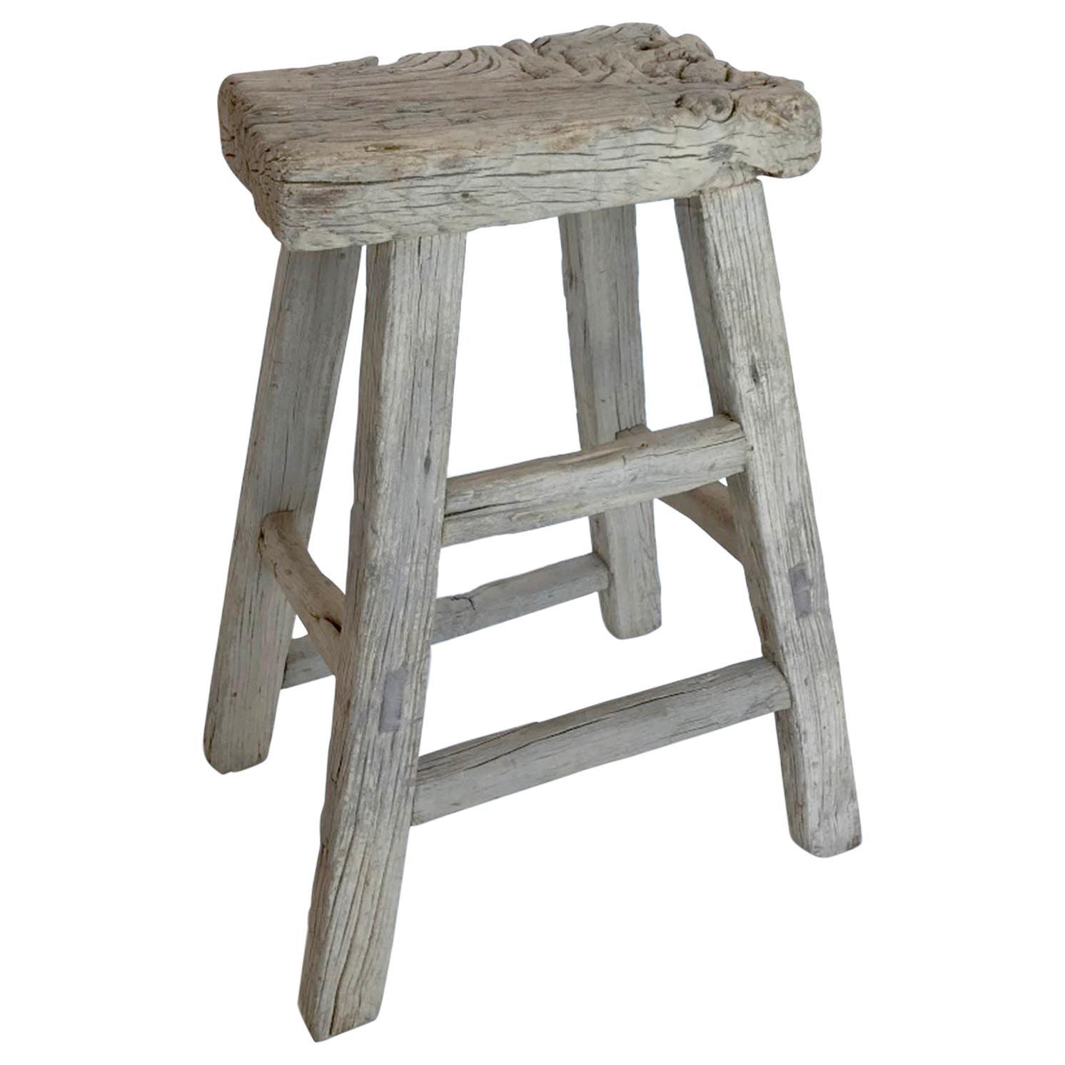 Antique Elmwood Tall Stool