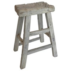Antique Elmwood Tall Stool
