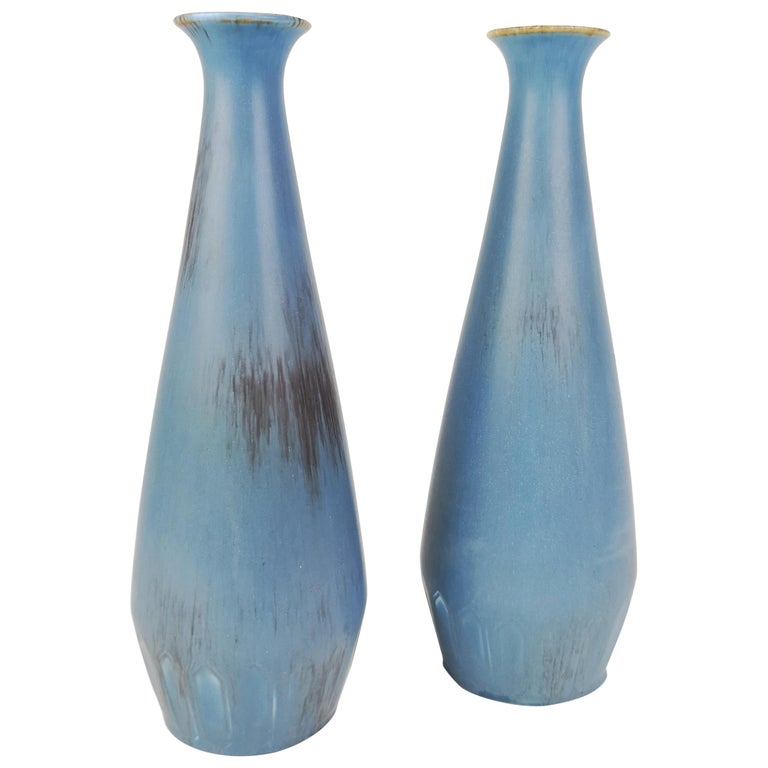 Pair of Gunnar Nylund Ceramic Vases by Rörstrand in Sweden For Sale