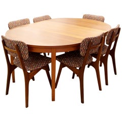 Mid-Century Modern Arne Hovmand Olsen Danish Teak Oval Dining Table & 6 Chairs
