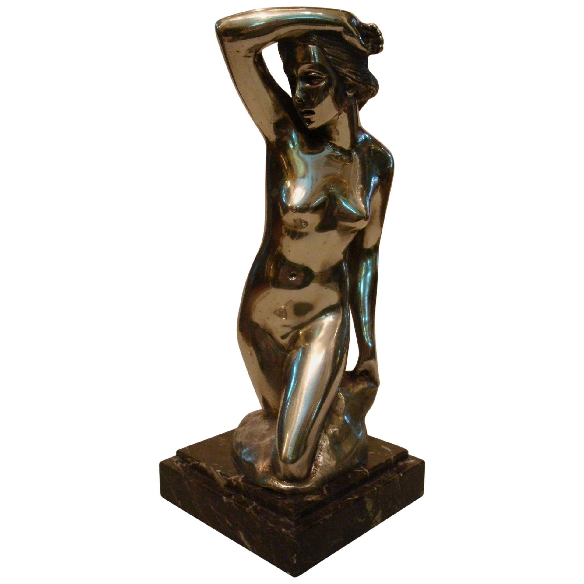 Art Deco Nude Woman Bronze Sculpture
