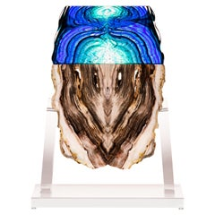 Petrified Wood and Glass Sculpture
