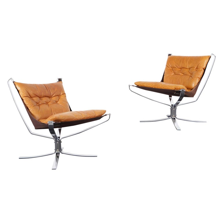 """Vintage Chrome """"Falcon"""" Lounge Chairs by Sigurd Ressell For Sale"""