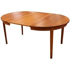 Mid-Century Modern Arne Hovmand Olsen Danish Teak Oval Dining 2 Leaves 1960s